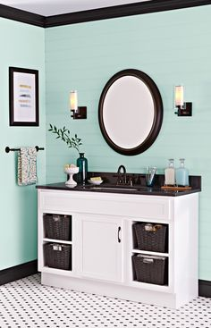Revive a dated vanity by removing the drawers and inserting shelves with baskets for easy access. --Lowe's Creative Ideas