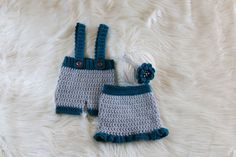 These adorable sets for twin boy and girl would make a great photo prop for those first precious pictures to remember for a long time.  Boy set includes: shorts overalls Girl set includes: ruffled shirt and a matching headband with crochet flower (beads may vary).  Right now available in newborn size. (if you do however need a larger size please send me a message).  Colors available: Gray/Teal -Pictured Yellow/ Gray Chocolate/ Yellow sage/cream Custom colors  All of my ite...