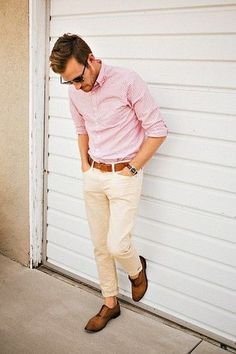 Men's Pink Vertical Striped Long Sleeve Shirt, Beige Chinos, Brown Leather Oxford Shoes, Brown Leather Belt