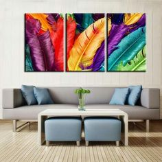 Feathers in different colors modern canvas for wall decoration, wall decor, interior improvement, wall decor
