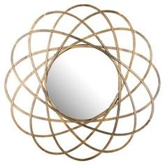"""Openwork iron wall mirror.   Product: Wall mirrorConstruction Material: Iron, MDF and mirrored glassColor:  GoldDimensions: 32"""" Diameter x 4.5"""" D Cleaning and Care: Professional cleaning recommended"""