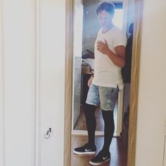 Trying something new, black tights with light shorts, what do you think? #ootd #fashion #new #yolo