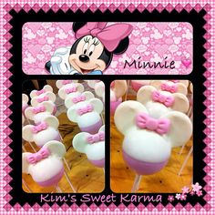 Minnie Mouse cake pops. https://www.facebook.com/Kimssweetkarma