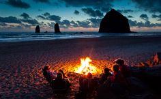 Sunset Bonfire, Cannon Beach, Oregon