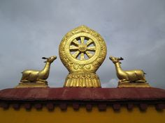 the golden deer on the roof of temples in Lhasa China