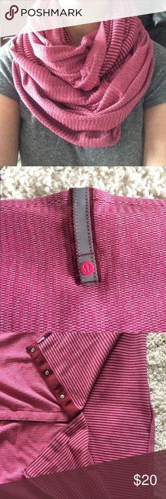 lululemon vinyasa scarf EUC You can wear this scarf many different ways! See YouTube video: https://youtu.be/CY8ZtcLrpL0 .  Color: mini check pique bordeaux drama heathered berry rumble lululemon athletica Accessories Scarves & Wraps