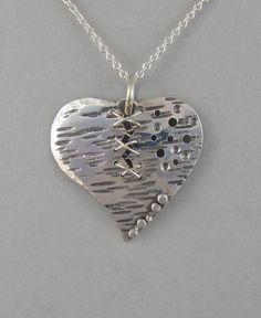 Sterling Stitched Broken Heart Pendant  $150.00