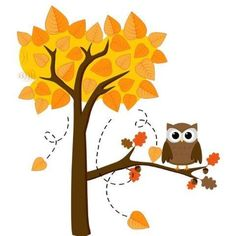 Vinyl Wall Decal Sticker : Owl On A Fall Tree Bedroom Bathroom Living Room Picture Art Peel  #WallStickersMurals