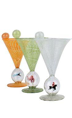 Set of 6 Bimini Glass Art Deco Martini Glasses with Cocktail Spears Vienna, Martini, Austria, Glass Art, Workshop, Cocktails, Art Deco, Glasses, Tableware