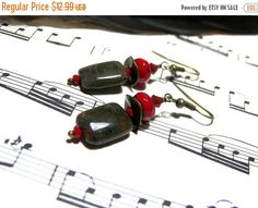 End of Year Sale African Onyx Beaded Earrings Red by LunaEssence