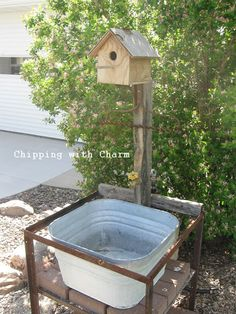 Chipping with Charm: Working outdoor sink made from random JUNK :) www.chippingwithcharm.blogspot.com