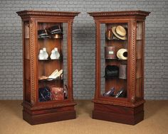 Pair of Carved Oak Shop Display Cabinets. - Decorative Collective