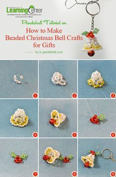 Do you love Christmas bell crafts? This Pandahall tutorial will tell you how to make beaded Christmas bell crafts for gifts. Beaded Christmas Decorations, Beaded Ornaments, Christmas Bells, Diy Christmas Ornaments, Christmas Earrings, Felt Christmas, Glass Ornaments, Snowman Ornaments, Beading Projects