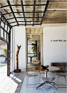 the Gap: Inspiring Indoor/Outdoor Spaces indoor / outdoor.LOVE the sliding glass garage door to separate sunroom and back porch!LOVE the sliding glass garage door to separate sunroom and back porch! Garage Door Windows, Glass Garage Door, Windows And Doors, Glass Doors, Roll Up Garage Door, Clear Garage Doors, Sliding Cupboard, Sliding Garage Doors, Sliding Wall