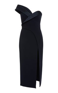 Brandon Maxwell Satin-Trimmed One-Shoulder Midi Dress