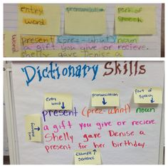 Teaching dictionary skills- excuse the terrible hand-writing, but I put together this anchor chart quickly. I couldn't find one I liked, so I created an interactive one that my students could manipulate and learn the parts of an entry. They then were given their own post-it notes to recreate a color-coded version in their notebooks. The post-it notes alone made them feel like mini-teachers and kept their focus. They kept telling me I was a fun teacher; maybe I will give them post-its more…