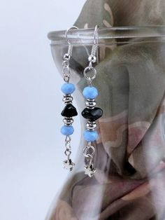 Blue Faceted Crystal with Black Obsidian Chips accented by Silver Beads and Silver Star Dangle Earrings by KoningStilsonDesign on Etsy Faceted Crystal, Crystal Earrings, Dangle Earrings, Pendant Necklace, Silver Stars, Natural Stones, Dangles, Etsy Shop, Beads