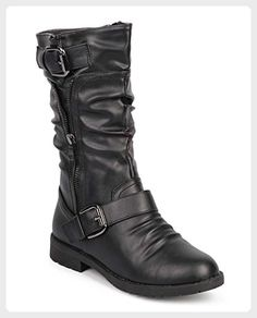 Forever DE37 Women Leatherette Round Toe Zipper Slouch Motorcycle Boot -  Black (Size  10 f354d86f70