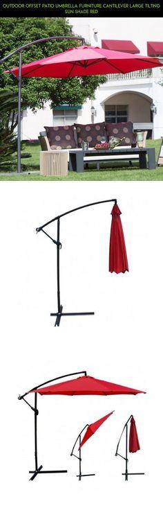 Outdoor Offset Patio Umbrella Furniture Cantilever Large Tilting Sun Shade  Red #tech #drone #