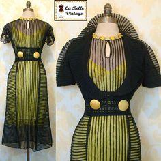 Vintage 30s BUMBLE BEE Black Sheer Net Chiffon Art Deco Dress Bolero Slip Set ..So cool looking!
