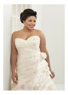 6b6c0ea1807 Elegant Satin  Tulle A-line Strapless Sweetheart Neckline Plus Size Wedding  Dress With Lace Appliques