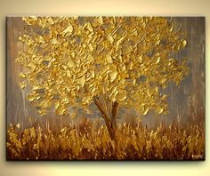Original Abstract Contemporary Gold Blooming Tree Painting Modern Palette Knife Heavy Textured Art  Osnat 40x30. $500.00, via Etsy.
