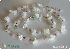Rózsakvarc és kagyló - karkötő és nyaklánc, nikkelmentes ásványékszer / Rosequartz and shell jewellery set - bracelet and necklace