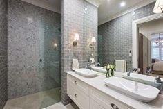 Glamour Coastal Living: Feature Friday: Phil Amity's New Home Bathroom Sink Decor, Bathroom Tile Designs, Bathroom Colors, Bathroom Styling, Bathroom Ideas, Hamptons Style Homes, Hamptons Decor, Hamptons House, The Hamptons