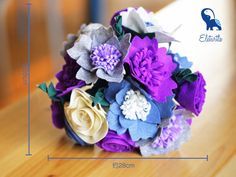Blue, Violet and White Fabric Flower Bouquet DIY Felt Craft Kit OR ...