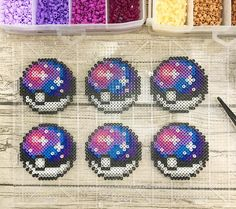 "Galaxy Pokéball redux! I wanted to make a version of my Galaxy Pokéball in the same size as my ""regular"" Pokéball sprites, and I'm super happy with how these came out! #perlerart #perlerbeads #perlerbrand #perlerartist #pixelart #pixelartist #pokemon #pokemongo #pokeball #galaxy #vaporwave #kandi #nintendo #ninstagram #originalart"