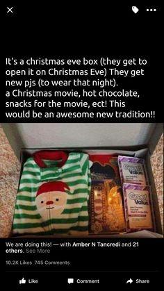 Christmas Gifts - Christmas eve box for kids Noel Christmas, Christmas Movies, Winter Christmas, All Things Christmas, Christmas Eve Box For Kids, Adult Christmas Gifts, Christmas With Baby, Christmas Hacks, Family Christmas Presents