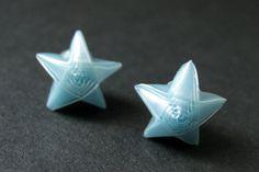 Blue Origami Star Earrings. Blue Star Earrings. Origami Earrings. Blue Earrings. Silver Post Earrings. Stud Earrings. Origami Jewelry. by StumblingOnSainthood from Stumbling On Sainthood. Find it now at http://ift.tt/29rtRwY!