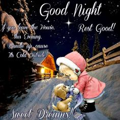 Good Night, God bless. Good Night Blessings, Good Night Wishes, Good Night Sweet Dreams, Good Night Moon, Good Night Quotes, Night Time, Cold Night, Its Cold Outside, Precious Moments