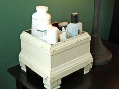 Use an old planter to store toiletries. HGTV storage solutions: http://www.hgtv.com/specialty-rooms/repurposing-household-items-for-closet-organization/pictures/page-7.html?soc=pinterest