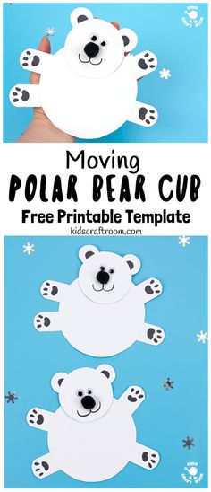 This Moving Polar Bear Cub Craft is just darling! Cradle it in your hands and move its head from side to side to bring it to life. It is so cute! Such a fun Winter craft for kids. (Free Printable Template) #kidscraftroom #kidscrafts #polarbears #polarbear #winter #wintercrafts #papercrafts #printables via @KidsCraftRoom