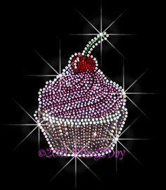 Cherry Cupcake Rhinestone Iron on Transfer Hot Fix by BlingPalace, $6.99