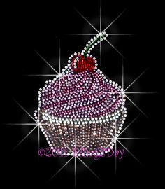 Cherry Cupcake Rhinestone Iron on Transfer Hot Fix by BlingPalace, $6.99