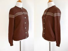 70s Brown Cardigan with White Stripes Across Chest - Lightweight Cardigan - 1970s Cardigan - Brown B