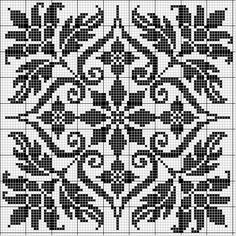 Pretty square charts for Filet Crochet... Or cross Stitch