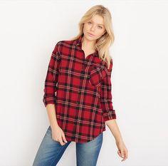 Red Combo Boyfriend Flannel Plaid Shirt.