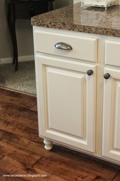 "Kitchen Cabinets Legs adding ""furniture look"" to base cabinets is easy with stain and"