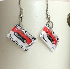 Cassette Tape Earrings - Cassette Earrings - Dangle Earrings - 80s Retro Jewelry - Music Charm Earrings - Gifts for Her - Unique Earrings