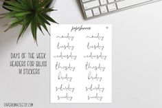 days of week header stickers  bullet journal  14 by paperkumaco