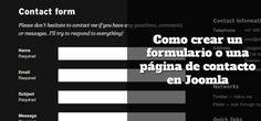 Como crear un formulario o una página de contacto en Joomla