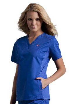 Med Couture EZ Flex Side Knit Top: - Missy fit - Classic v-neck - Stretch side knit panels with Spandex - Side panel pockets - Side knit dyed to match (except Cherry has Black panel) - length Jaanuu Scrubs, Med Couture Scrubs, Clothing Deals, Couture Tops, Hot Outfits, Scrub Tops, V Neck Tops, Short Sleeve Dresses, Dresses For Work