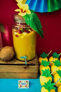 Rio party - tropical punch-pineapple.juice and fresh fruit