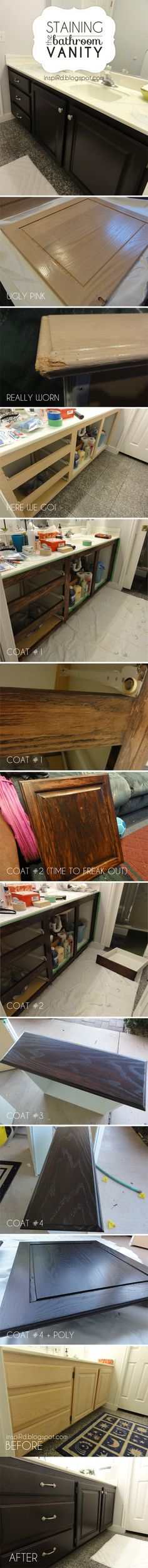 The process of staining bathroom cabinets. Click to see the full tutorial.