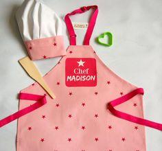 Girl's Apron Aprons Chef Set Custom Apron by RubiesandGoldGIFTS
