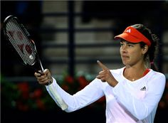 Ana Ivanovic after her first-round win over Francesca Schiavone at the WTA Dubai Open. Tennis Pictures, Professional Tennis Players, Ana Ivanovic, First Round, Sports Betting, Tennis Racket, Dubai, Board, Sign