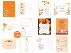 bright orange wedding invitations as low as $1.04 ea.